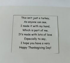 Text for Hand print turkey card