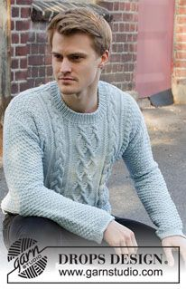 Free knitting patterns and crochet patterns by DROPS Design Mens Knit Sweater Pattern, Mens Cable Knit Sweater, Jumper Patterns, Knit Cowl, Free Crochet Doily Patterns, Aran Knitting Patterns, Free Knitting, Finger Knitting, Knitting Machine