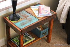 Another Scrappy Table--The Side Version http://bec4-beyondthepicketfence.blogspot.com/2014/05/another-scrappy-table-side-version.html