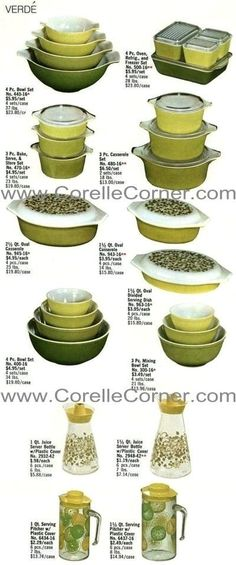 Verde Pyrex Ware, image from 1970 catalogue. I have Verde that is not pictured here :-) Vintage Kitchenware, Vintage Dishes, Vintage Glassware, Vintage Tins, Vintage Pyrex, Vintage Stuff, Decor Vintage, Plywood Furniture, Furniture Design