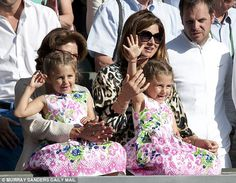 Federer's wife Mirka, herself a former professional tennis player, with their elder twins Myla Rose and Charlene Riva, almost six