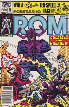 ROM Spaceknight #26 Allen Milgrom Cover Art/  Terrax the Tamer, the Herald of Galactus, arrives above Galador with his master. #comicbooks #marvelcomics