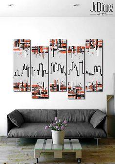 """Original Philadelphia skyline painting. 41x64"""""""