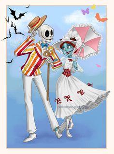 a jolly nightmare. nightmare before christmas meets mary poppins Disney Fan Art, Disney Pixar, Disney Mode, Disney E Dreamworks, Disney Magic, Punk Disney, Disney Bound, Nightmare Before Christmas, Sally Nightmare