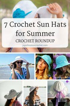 7 Crochet Sun Hats for Summer best crochet roundup. Crochet patterns for amazing sun hats. Summer crochet ideas easy. Sun hats and beach crochet ideas. #crochet #crochetpatterns #crochetsunhat #crochetpattern #crocheting