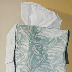"Tissue Box - Floating Leaves  oil on panel  12"" x 12"""