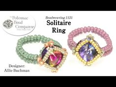Solitaire Ring (DIY Bead Weaving Tutorial) - YouTube, supplies from www.potomacbeads.com