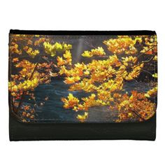 Gold Autumn Leaves Print on Black  Leather Wallet