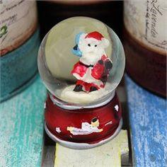 Mini Noel Baba Mavi Torbalı Su Küresi