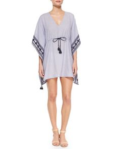 Tory Burch | Mira Embroidered-Trim Drawstring Coverup | Bergdorf Goodman | $350 | Cotton
