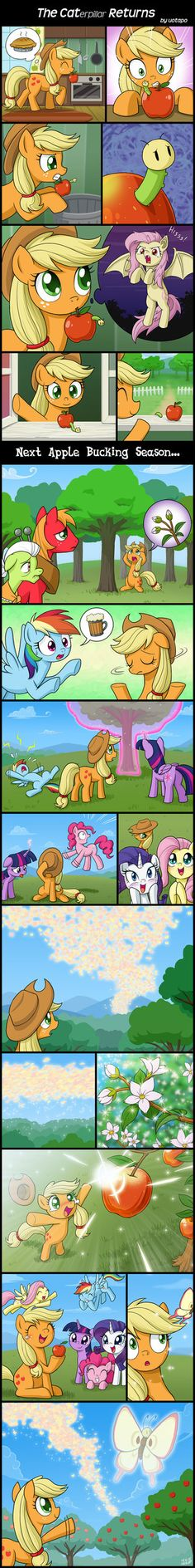 when applejack discovers a caterpillar in her apple, she has second thoughts about throwing it away. My Little Pony Characters, My Little Pony Comic, My Little Pony Pictures, Mlp Comics, Cute Comics, Mlp Memes, Arte Do Kawaii, Little Poni, Imagenes My Little Pony