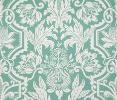 Jardinage Deep Jade Green for The New York Botanical Garden Collection by Vervain Green Cleaning, Traditional Design, Botanical Gardens, Fabrics, Tapestry, Deep, Jade Green, Prints, Wallpapers