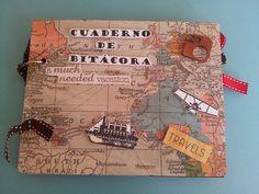 Hola de nuevo!!! Aquí os enseñaré un cuaderno de Bitácora que hice también a la vez que el intercambio de ATCs de viaje. Utilicé un cartó...