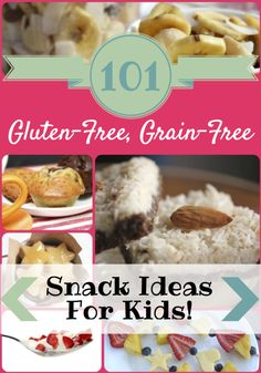 101 Easy, Delicious, Gluten-Free, Grain-Free Snack Ideas for Kids! There is something for everyone: dips, crackers, muffins, cookies, bars, crunchy snacks, sweet snacks, and more.