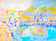 Elephants+by+the+Water+14+x+17+Acrylic+by+EvelynHenson+on+Etsy,+$150.00