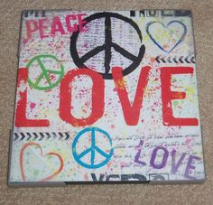 PAINTED CANVAS SQUARE LOVE PEACE DECOR HANGING SIGN 11.5x11.5x1