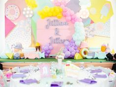 Jillian and Jilleen's Sweet Shoppe Themed Party – Birthday 1st Birthday Girls, Unicorn Birthday Parties, Events Place, Purple Table, Glitter Force, Party Needs, Wonderland Party, Host A Party, Party Photos