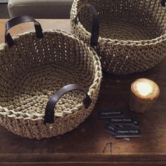 Heavy jute forms a rustic natural texture to these baskets which will enhance any room. The baskets are hand crocheted using a thick bulky jute and features handcrafted leather handles with metal rivets for an industrial touch. The result is a beautiful and functional statement piece for