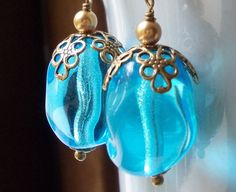Caribbean Blue Earrings Sea Ocean Flower large by karmelidesigns, $19.00