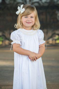 Strasburg Children Margaret Smocked Heirloom Dress. Great flower girl dress or holiday dress! #flowergirl