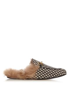 GUCCI Princetown Dot-jacquard fur-lined loafers. #gucci #shoes #flats