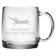 Dachsund Through Mug (Set of 4)