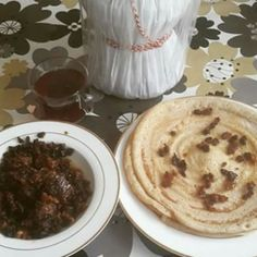 Canjeero - National dish of Somalia. Sourdough-risen flatbread served with goat stew.