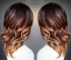 caramel+ombre+highlights+for+dark+brown+hair