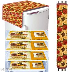 Checkout this latest Fridge Cover Product Name: *LooMantha Combo Pack of 1 Pc Fridge Top Cover, 1 Pc Handle Cover, 4 Pc Fridge Mat * New Stylish Fridge Covers & Fridge Mats Country of Origin: India Easy Returns Available In Case Of Any Issue   Catalog Rating: ★4.1 (4807)  Catalog Name: New Stylish Fridge Covers & Fridge Mats CatalogID_795968 C131-SC1623 Code: 291-5352108-573