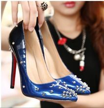 Sexy red bottom high heels rivets pointed toe shoes studded spike women pumps wedding shoes 6 colors Big size 2016(China (Mainland))