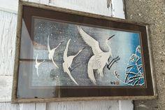 Framed Vintage EGRET Print by SquareFishPhyllis on Etsy