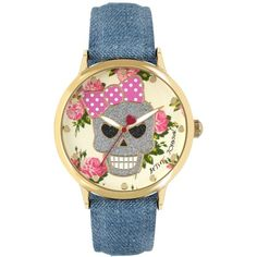 Betsey Johnson Women's Blue Denim Strap Watch 42mm BJ00496-42 ($50) ❤ liked on Polyvore featuring jewelry, watches, gold, yellow gold jewelry, skull watches, glitter jewelry, skull jewelry and gold jewelry