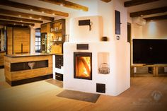 Wood Burning Cook Stove, Rocket Mass Heater, Farmhouse Fireplace, Wood Burner, Home Living Room, Relax, Cabin, Architecture, Home Decor