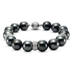 Mastoloni Tahitian Pearl & Diamond Bracelet! www.Houstonjewelry.com