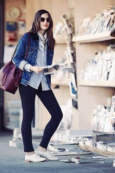 Great way to wear a subtle printed scarf with casual denim jacket