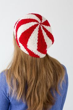Loom knit candy striped beret