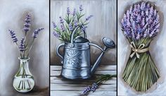 Lavender Triptytch - An oil and Pastel Painting by Julie Sneeden