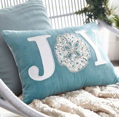 Completely Coastal: Christmas Sayings on Pillows for a Coastal Beach Themed Holiday