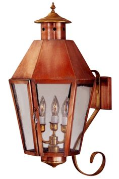 Boost your homes curb appeal while making your home safer with high quality outdoor lighting. Your old house is one-of-a-kind; your lighting should be just as unique. <br><br>The Franklin Copper Lantern Wall Light with Bracket, shown here in our hand-applied Antique Copper finish with Water Glass, is handmade in USA from solid copper or brass for the highest possible quality outdoor lighting. This wall light outdoor lantern is designed to go with old houses in a variety traditiona...
