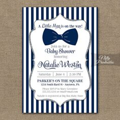 Bow Tie Baby Shower Invitations Printable Navy by NiftyPrintables, $15.00