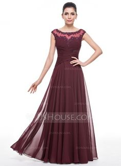 [US$ 165.99] A-Line/Princess Scoop Neck Floor-Length Chiffon Mother of the Bride Dress With Ruffle Beading Appliques Lace Sequins
