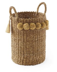 Shop this product on Havenly, where you can also browse similar products across other brands and even get interior design help to transform your space. Large Baskets, Wicker Baskets, Wicker Laundry Hamper, Painted Baskets, Picnic Baskets, Craft Stick Crafts, Diy And Crafts, Sisal, Interior Design Help