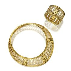 18 KARAT GOLD AND DIAMOND 'SCARAB' NECKLACE AND BRACELET, CARTIER