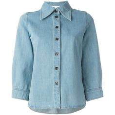 Chloé denim shirt ($530) ❤ liked on Polyvore featuring tops, shirts, blue, denim collared shirt, blue top, button front shirt, shirt tops and blue 3/4 sleeve shirt