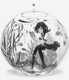 Anime girl in a fish bowl