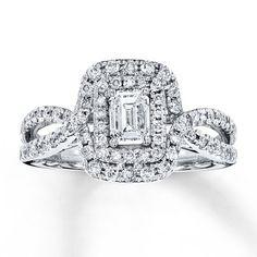 Diamond Engagement Ring 1 ct tw Emerald-cut 14K White Gold