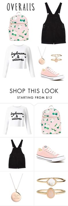 """Overalls 😊"" by be-robinson ❤ liked on Polyvore featuring Miss Selfridge, Monki, Converse, Kate Spade and Accessorize"