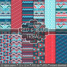 """Tribal digital paper: """"RED & BLUE TRIBAL"""" with tribal patterns and tribal backgrounds, arrows, feathers, leaves, chevrons in blue and red"""