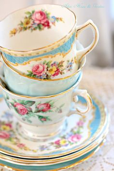 Blue Tea Cups, Mix Match Tea Cups for tea parties and displays.  The more mismatched, the better!  Choosing a color to tie patterns together is easy and attractive. ~MWP - Aiken House & Gardens: Soft and Pretty Tea Time