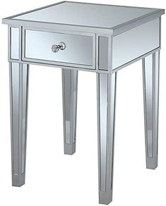 New Convenience Concepts Gold Coast Mirrored End Table with Drawer, Silver Mirror contemporary living room furniture. [$135.99] toplikefurniture offers on top store Mirrored End Table, Mirrored Furniture, Furniture Decor, End Tables With Drawers, Metal End Tables, Contemporary Living Room Furniture, Living Room Mirrors, Modern Wall Sconces, Home Kitchens
